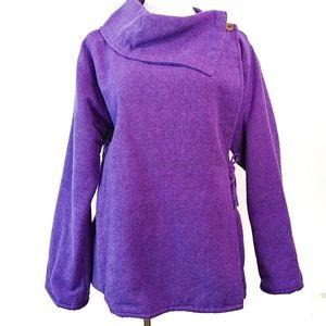 LAGENLOOK 100% Cotton Purple Wrap Coat Size XL